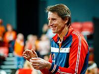The Hague, The Netherlands, Februari 8, 2020,    Sportcampus, FedCup  Netherlands -  Balarus, Doubles: Bertens/Schuurs (NED), the Dutch bench with Captain Paul Haarhuis<br /> Photo: Tennisimages/Henk Koster