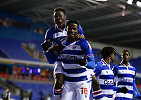 10th February 2021; Madejski Stadium, Reading, Berkshire, England; English Football League Championship Football, Reading versus Brentford; Lucas Joao of Reading celebrates with Andy Yiadom of Reading after scoring his sides 1st goal in the 25th minute to make it 1-0 from a penalty kick