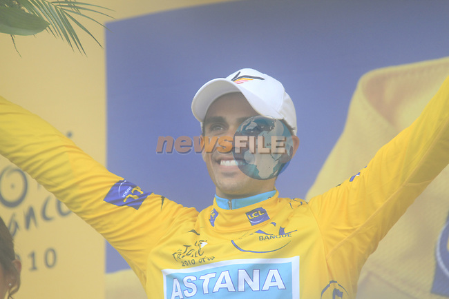 Alberto Contador (ESP) Astana retains the race leaders Yellow Jersey at the end of Stage 17 of the 2010 Tour de France running 174km from Pau to Col du Tourmalet, France. 22nd July 2010.<br /> (Photo by Eoin Clarke/NEWSFILE).<br /> All photos usage must carry mandatory copyright credit (© NEWSFILE | Eoin Clarke)