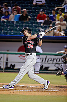 Albuquerque Isotopes center fielder Drew Stubbs (24) hits against the New Orleans Zephyrs in a game at Zephyr Field on May 28, 2015 in Metairie, Louisiana. (Derick E. Hingle/Four Seam Images)