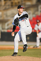 Starting pitcher Brad Clapp (41) of the Hickory Crawdads in action versus the Columbus Catfish at L.P. Frans Stadium in Hickory, NC, Wednesday, May 21, 2008.
