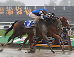 27 Sept 2008: Cocoa Beach and jockey Ramon Dominguez lunge past 1-2 favorite Ginger Punch in the Beldame Stakes at Belmont Park in Elmont, New York on Jockey Club Gold Cup Day.