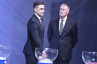 Costa do Sauípe, Bahia, Brazil - Friday, Dec 6, 2013: <br /> FIFA Secretary General Jérôme Valcke and Brazilian actress Fernanda Lima host the draw for 32 teams who have qualified for the finals. Former FIFA players Geoff Hurst (England) and Fabio Cannavaro (Italy) were part of the ceremony.