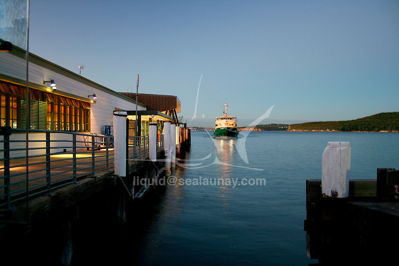 A Sydney Ferry arriving at the Manly Wharf, Sydney.