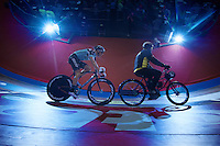 Iljo Keisse (BEL) stayered by derny-rider Michel Vaarten (BEL)<br /> <br /> Gent6 2013