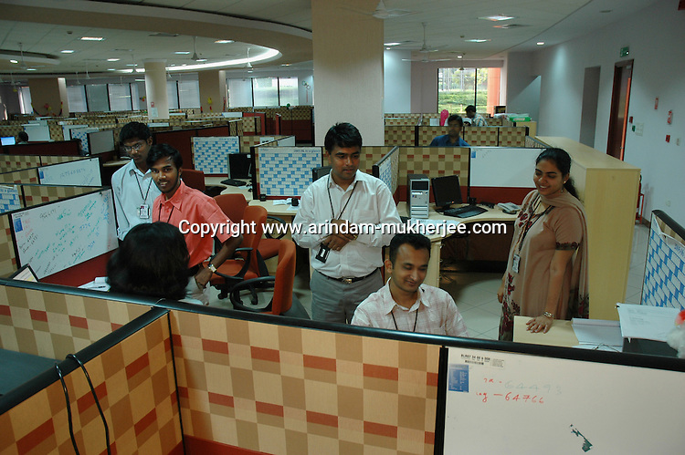 Indian Software professionals during work at Infosys, Bangalore. Infosys is the largest software company in the country and the head office is in Bangalore, Karnataka, India. Arindam Mukherjee