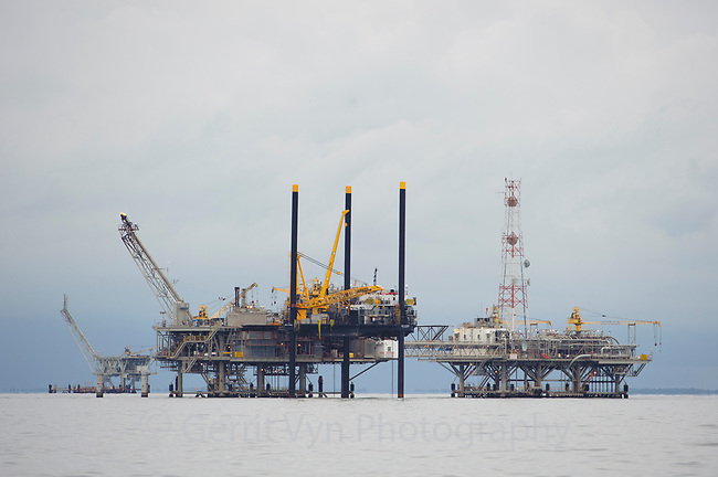 Natural gas rig in Mobile Bay. Mobile County, Alabama. July.