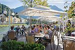 Austria, Upper Austria, Salzkammergut, Bad Ischl: Café Zauner, riverside Café-Terrace at Esplanade avenue in the centre of town | Oesterreich, Oberoesterreich, Salzkammergut, Bad Ischl: Café Zauner - Café-Terrasse an der Esplanade im Zentrum mit Blick auf die Traun