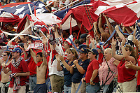 USA fans celebrate, World Cup qualifier between USA and El Salvador, 2004.