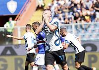 12th September 2021; G.Ferraris Stadium, Genoa, Italy; Serie A football, Sampdoria versus Inter Milan; Milan Skriniar of Inter reacts to a missed chance to score