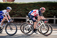 race lead group with John Degenkolb (DEU/Lotto-Soudal), <br /> Mathieu Van der Poel (NED/Alpecin-Fenix) & (eventual winner) Yves Lampaert (BEL/Deceuninck-QuickStep) speeding along<br /> <br /> 44th AG Driedaagse Brugge-De Panne 2020 (1.UWT / BEL)<br /> 1 day race from Brugge to De Panne (203km shortened to 188km due to the windy weather conditions) <br /> <br /> ©kramon4