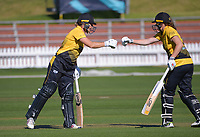 Wellington's Sophie Devine (left) and Jess McFadyen during the Hallyburton Johnstone Shield women's cricket match between Wellington Blaze and Otago Sparks at the Basin Reserve in Wellington, New Zealand on Sunday, 14 March 2021. Photo: Dave Lintott / lintottphoto.co.nz