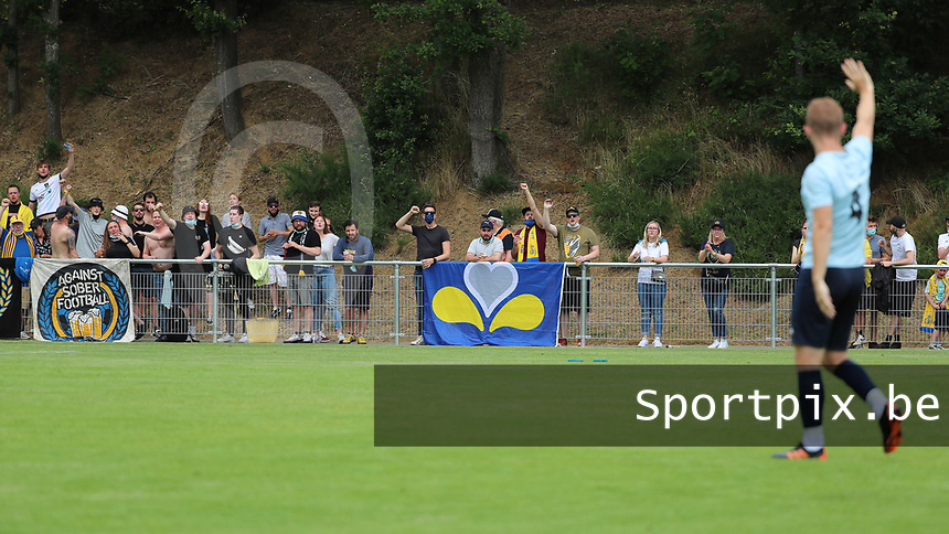 Union supporters pictured before a preseason friendly soccer game between Tempo Overijse and Royale Union Saint-Gilloise, Saturday 29th of June 2021 in Overijse, Belgium. Photo: SPORTPIX.BE | SEVIL OKTEM