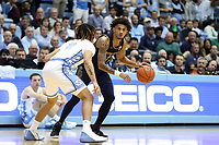 CHAPEL HILL, NC - NOVEMBER 06: Prentiss Hubb #3 of the University of Notre Dame is defended by Cole Anthony #2 of the University of North Carolina during a game between Notre Dame and North Carolina at Dean E. Smith Center on November 06, 2019 in Chapel Hill, North Carolina.