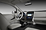 Straight dashboard view of a 2011 Nissan Leaf SL .