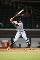 Salt River Rafters right fielder Monte Harrison (4), of the Miami Marlins organization, at bat during an Arizona Fall League game against the Mesa Solar Sox at Sloan Park on October 16, 2018 in Mesa, Arizona. Salt River defeated Mesa 2-1. (Zachary Lucy/Four Seam Images)