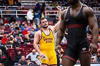 STANFORD, CA - March 7, 2020: Tanner Hall during the 2020 Pac-12 Wrestling Championships at Maples Pavilion.
