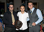 St Johnstone FC Player of the Year Awards 2017-18<br />Strathearn Saints Player of the Year isStefan Scougall presented by Grant McInally (left) and Barry Chiverton<br />Picture by Graeme Hart.<br />Copyright Perthshire Picture Agency<br />Tel: 01738 623350  Mobile: 07990 594431