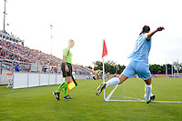Yael Averbuch (10) of Sky Blue FC takes a corner kick. Sky Blue FC and the Washington Freedom played to a 4-4 tie during a Women's Professional Soccer match at Yurcak Field in Piscataway, NJ, on July 15, 2009.