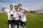 England 3 Wales 0, 24/05/2008. Belle Vue, Rhyl, Four Nations Semi-Professional Tournament. England's goal scorers Andy Burgess, Shaun Harrad and Michael Morrison celebrating with the winners' trophy after the match against Wales at the Four Nations Semi-Professional tournament match at Rhyl which the English won 3-0. The tournament was established in 2002 and was held on an annual basis featuring teams from England, Scotland and Wales and an invited team, on this occasion Gibraltar. The tournament is hosted on a rotational basis and in 2008 games were staged at Colwyn Bay FC, Rhyl FC and The New Saints ground in Oswestry. Photo by Colin McPherson.
