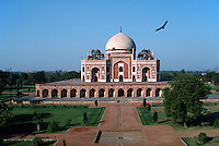 An Islamic waterway leads to the entrance of the Moghul designed HUMAYUN'S TOMB - DELHI, INDIA.