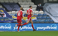 first goal scored for Accrington Stanley by Ross Sykes of Accrington Stanley as he celebrates during AFC Wimbledon vs Accrington Stanley, Sky Bet EFL League 1 Football at The Kiyan Prince Foundation Stadium on 3rd October 2020