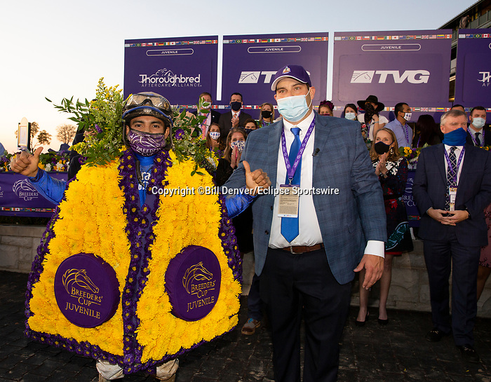 November 6, 2020: Connections for Essential Quality, winner of the TVG Juvenile Presented By Thoroughbred Aftercare Alliance on Breeders' Cup Championship Friday at Keeneland on November 6, 2020: in Lexington, Kentucky. Bill Denver/Breeders' Cup/Eclipse Sportswire/CSM