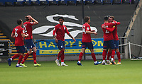 17th October 2020; Liberty Stadium, Swansea, Glamorgan, Wales; English Football League Championship Football, Swansea City versus Huddersfield Town; Huddersfield Town players celebrate after Harry Toffolo of Huddersfield Town goal makes it 0-1 in the 23rd minute