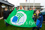 Mairead Kerrisk Green schools co ordinator and the Green Flag schools committee hoist the Green Flag in St Olivers NS Killarney on Monday (Principal requested no names)
