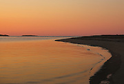 Sunrise from Popham Beach State Park in Phippsburg, Maine USA during the spring months. Popham Beach State Park is located near Fort Popham.
