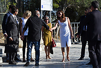 Pictured: Peristera (Betty) Baziana (C) at the Acropolis in Athens, Greece. Thurday 07 September 2017<br /> Re: Brigitte Macron, the wife of French President Emmanuel Macron, was given a tour of the Acropolis by Betty (Peristera) Baziana, the wife of Greek Prime Minister ALexis Tsipras during their state visit to Athens, Greece.