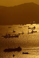 Barges in Hong Kong harbor..