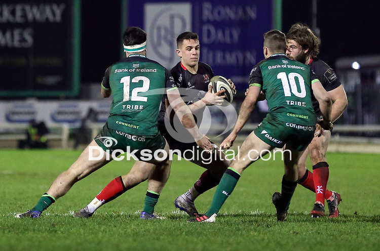 27th December 2020   Connacht  vs Ulster <br /> <br /> James Hume is tackled by Tom Daly during the Guinness PRO14 match between Connacht and Ulster at The Sportsground in Galway. Photo by John Dickson/Dicksondigital