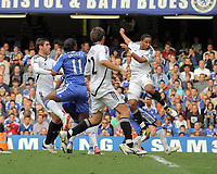 Pictured: Ashley Williams of Swansea (R) scoring. Saturday 17 September 2011<br />