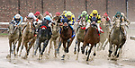 LOUISVILLE, KY - MAY 05: Benner Island #1, ridden by Javier Castellano (yellow cap), leads the field as they exit the turn for home on her way to win the the Eight Belles Stakes on Kentucky Oaks Day at Churchill Downs on May 5, 2017 in Louisville, Kentucky. (Photo by Mary Meek/Eclipse Sportswire/Getty Images)