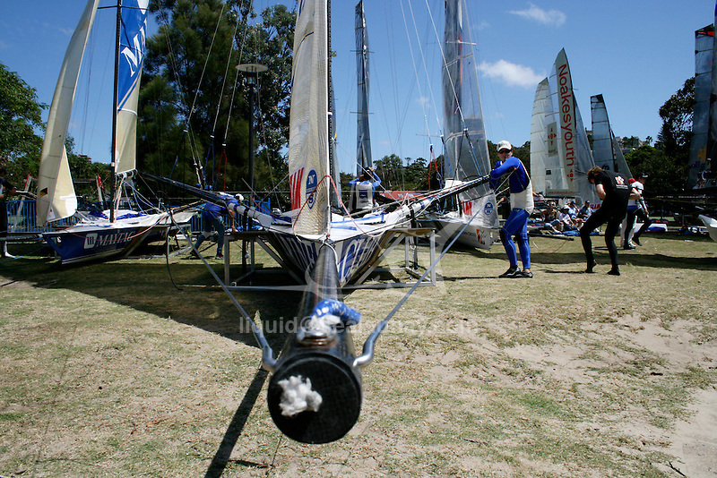 Day three of the JJ Giltinan 18 Ft Skiff championship 2007 in the Sydney Harbour..