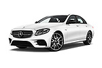 Stock pictures of low aggressive front three quarter view of 2017 Mercedes Benz E Class AMG 43 4 Door Sedan