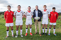 Ulster Schools U18 | Saturday 5th September 2015<br /> <br /> Ulster Schools U18 Squad 2015-2016<br /> Campbell College players John Crowther, Tom O'Tool, Jack Barry-Glendinning, James Nelson and Oscar Yandall with Danske Bank representative Mark Beattie at a recent training session at Newforge Country Club in Belfast. Photo : John Dickson - DICKSONDIGITAL