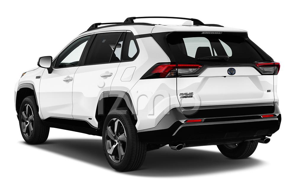 Car pictures of rear three quarter view of 2021 Toyota RAV4-Prime SE 5 Door SUV Angular Rear
