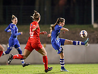 Fran Meersman (5) of AA Gent controls the ball during a female soccer game between FC Femina White Star Woluwe and AA Gent Ladies on the 13 th matchday of the 2020 - 2021 season of Belgian Scooore Womens Super League , friday 5 th of February 2021  in Woluwe , Belgium . PHOTO SPORTPIX.BE | SPP | SEVIL OKTEM