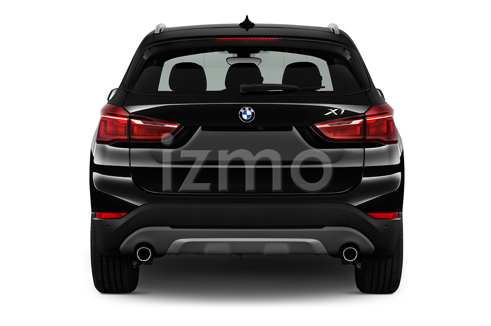 Straight rear view of a 2018 BMW X1 xDrive28i 5 Door SUV stock images