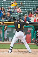 Josh Rutledge (8) of the Salt Lake Bees at bat against the Tacoma Rainiers in Pacific Coast League action at Smith's Ballpark on May 7, 2015 in Salt Lake City, Utah.  (Stephen Smith/Four Seam Images)