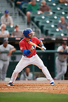 Buffalo Bisons third baseman Jason Leblebijian (9) squares to bunt during a game against the Indianapolis Indians on August 17, 2017 at Coca-Cola Field in Buffalo, New York.  Buffalo defeated Indianapolis 4-1.  (Mike Janes/Four Seam Images)