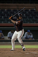 AZL Giants Black left fielder Franklin Labour (49) at bat during an Arizona League game against the AZL Royals at Scottsdale Stadium on August 7, 2018 in Scottsdale, Arizona. The AZL Giants Black defeated the AZL Royals by a score of 2-1. (Zachary Lucy/Four Seam Images)