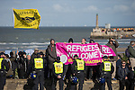 © Joel Goodman - 07973 332324 . 22/10/2016 . Margate , UK . Anti fascist protesters . A White Lives Matter protest and march , opposed by antifascists , is held in Margate , Kent . Photo credit : Joel Goodman