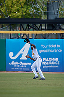 Montgomery Biscuits right fielder Jesus Sanchez (4) catches a fly ball during a Southern League game against the Mobile BayBears on May 2, 2019 at Riverwalk Stadium in Montgomery, Alabama.  Mobile defeated Montgomery 3-1.  (Mike Janes/Four Seam Images)