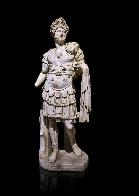 Roman statue of Emperor Hadrian. Marble. Perge. 2nd century AD. Inv no 3730-3728. Antalya Archaeology Museum; Turkey. Against a black background.