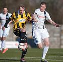 East Fife's Stephen Hughes and Ayr Utd's Kevin Kyle challenge.
