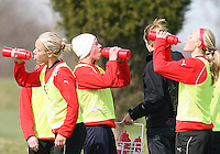 Lori Lindsey,Joanna Lohman and Allie Long during Washington Freedom  practice and media event at the Maryland Soccerplex on March 25 in Boyd's, Maryland.