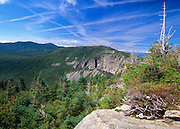 Scenic views of Cannon Mountain  from Old Bridle Path in the White Mountain National Forest of New Hampshire USA.